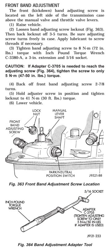 42RE Front band adjustment tips - JeepForum com